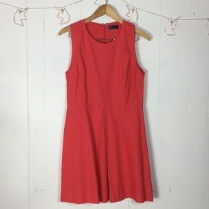 Coral linen dress with pockets 8